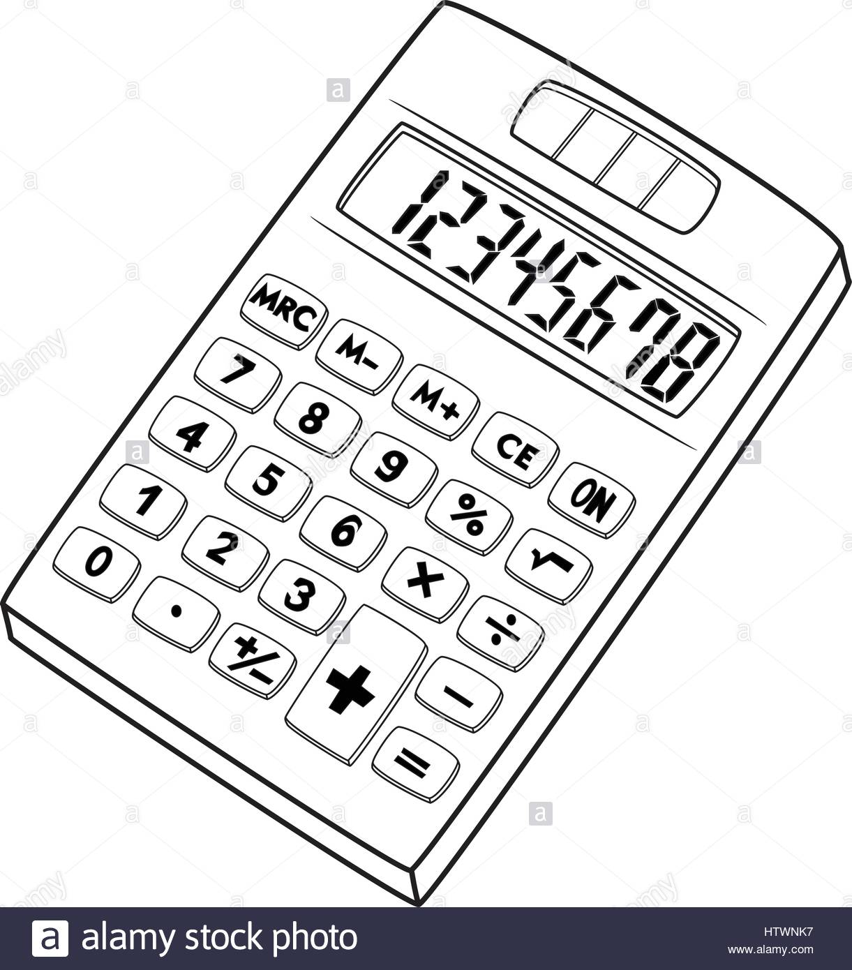 1221x1390 Illustration Of Isolated Calculator Cartoon Drawing. Vector Eps 8