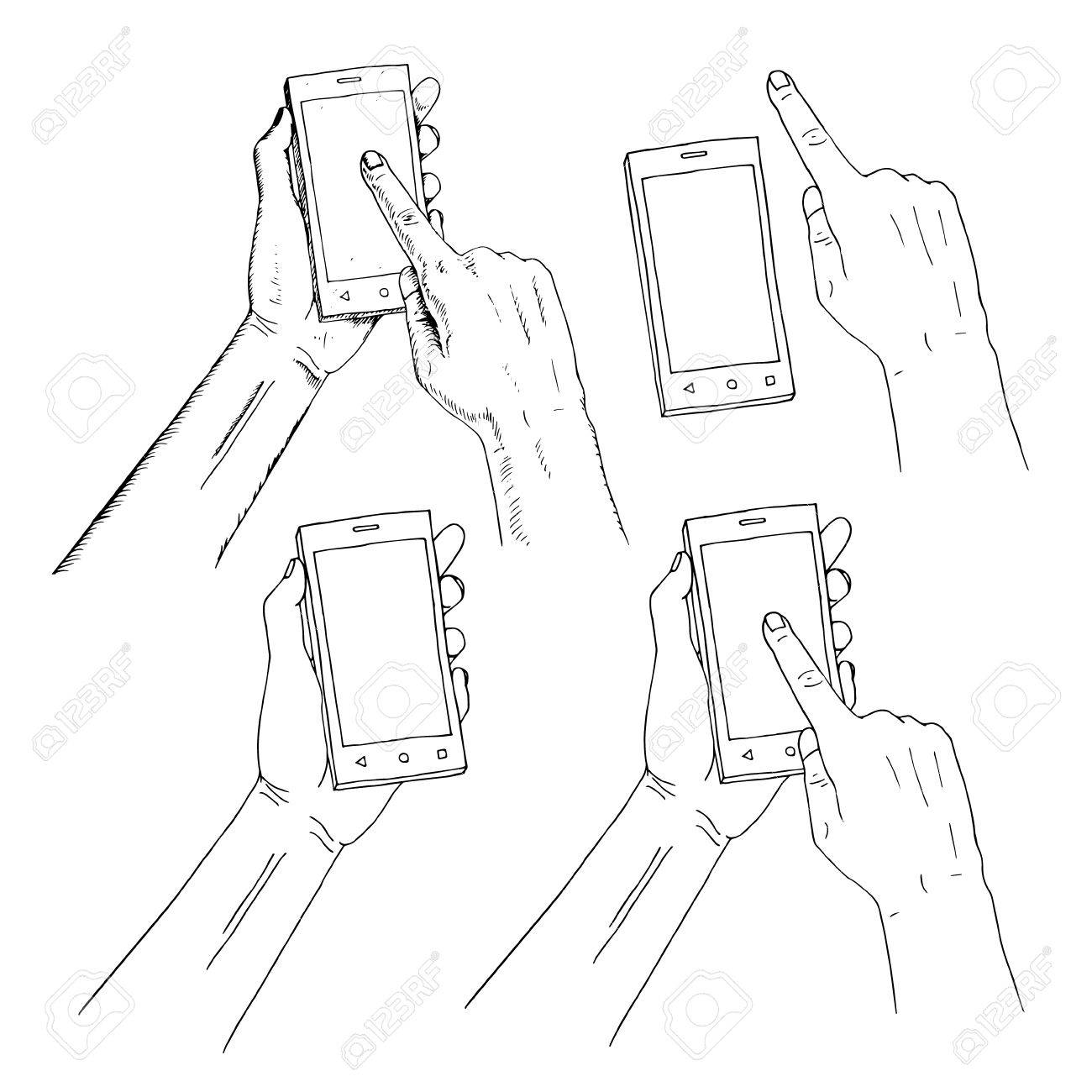 1300x1300 Drawn Hand Holding Phone. Finger On Phone Pressing On Screen