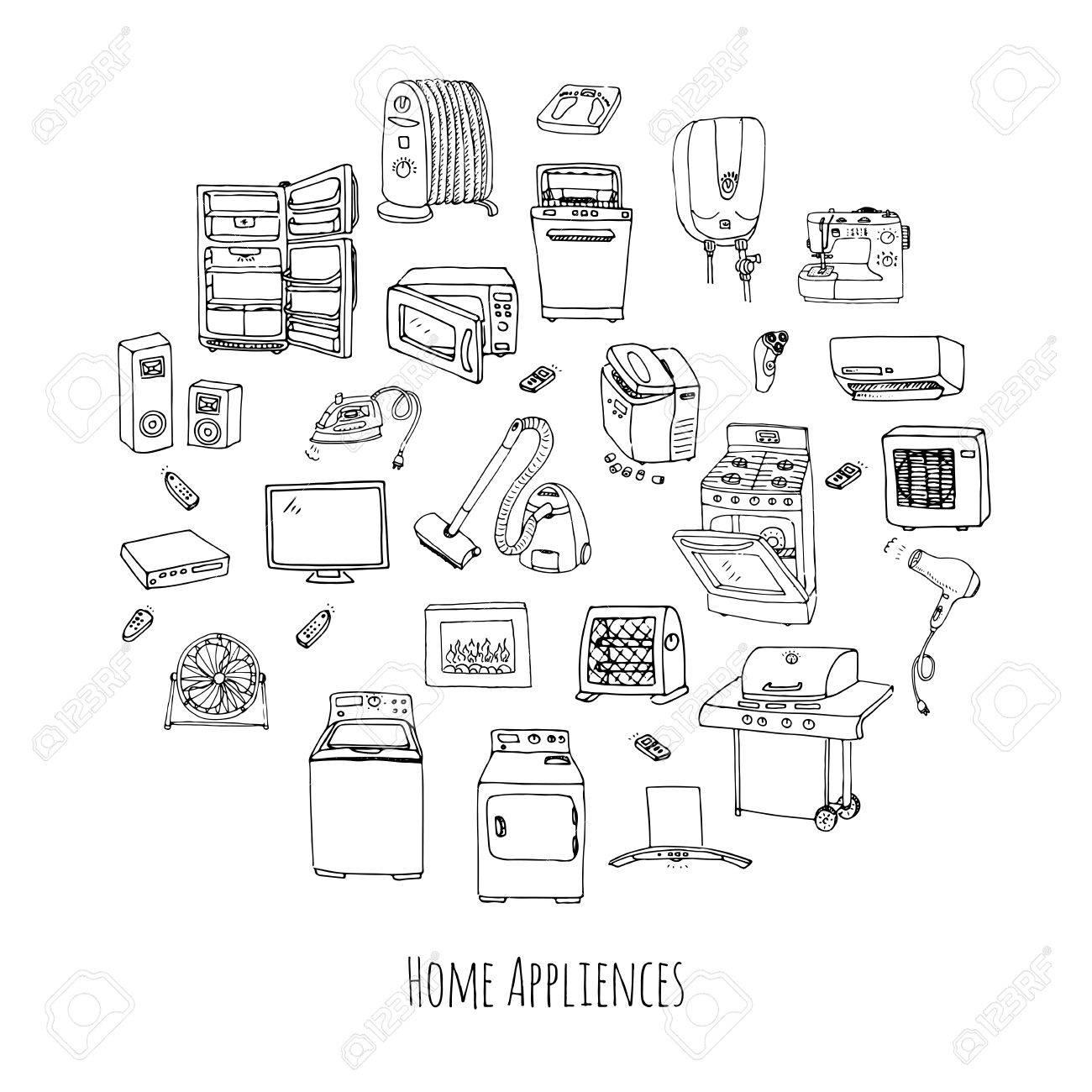 1300x1300 Hand Drawn Doodle Home Appliance Vector Illustration Cartoon