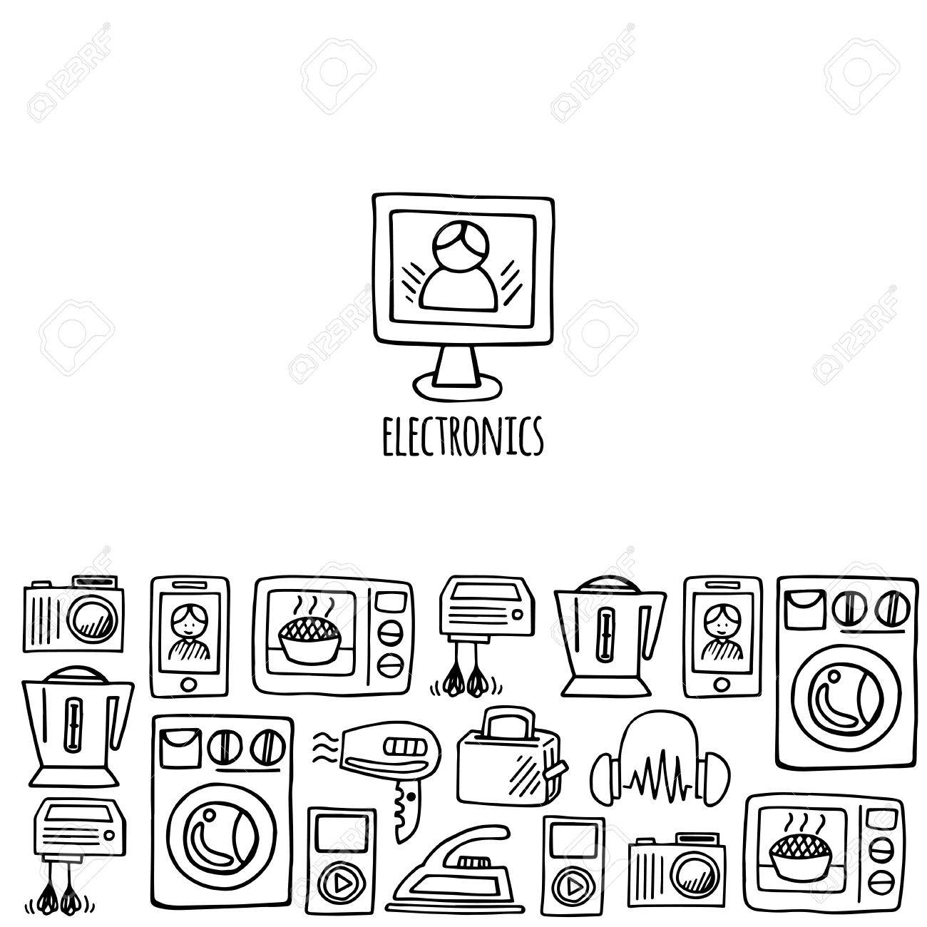 1300x1300 Home Electronics Sketch Icons Isolation White Background Vector