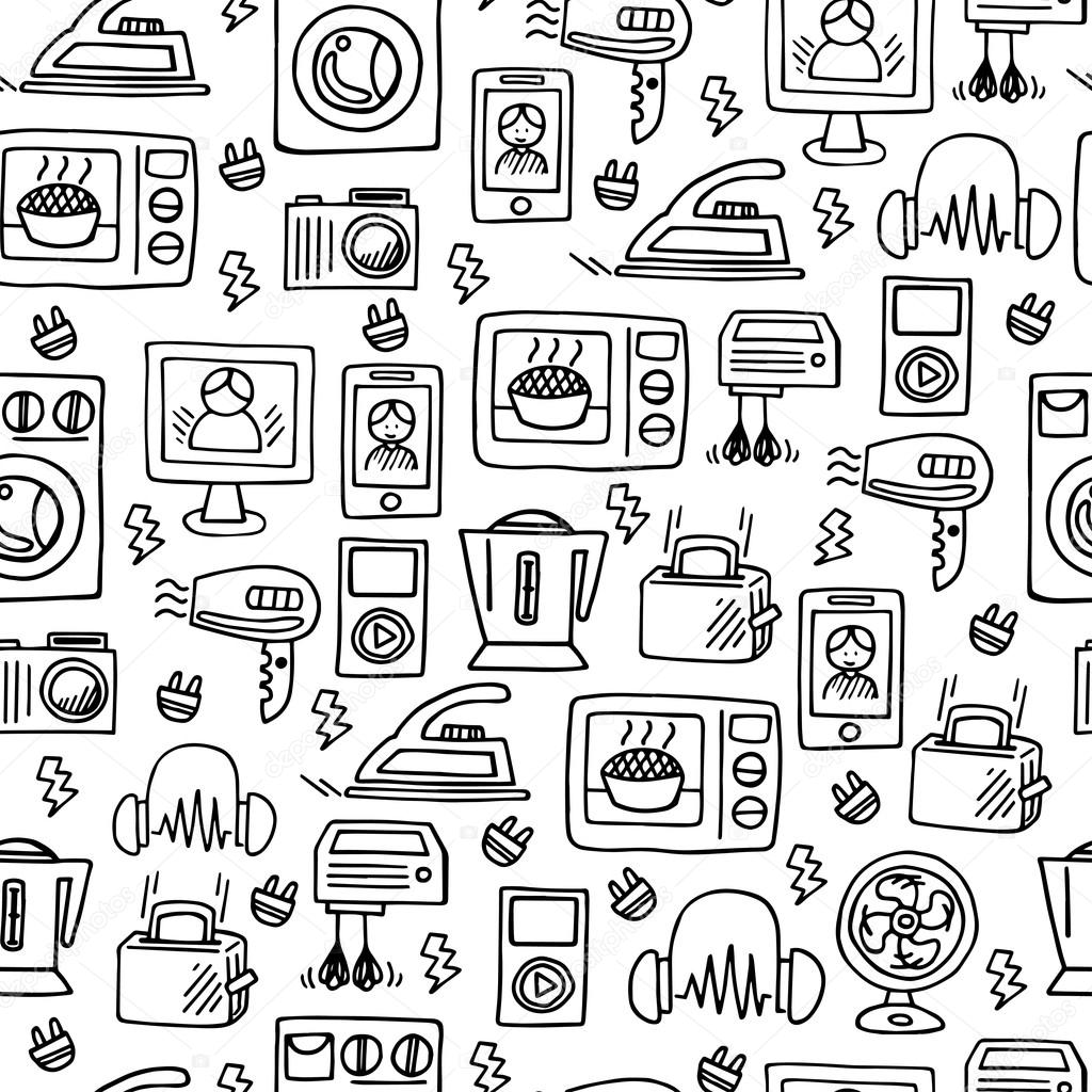 1024x1024 Home Electronics Sketch Vector Seamless Pattern. Stock Vector