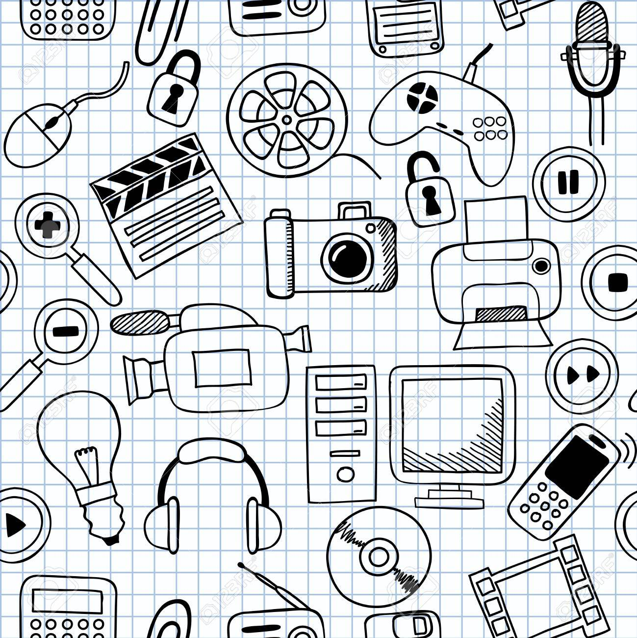 1299x1300 Illustration Of Seamless Textures On Electronics Royalty Free