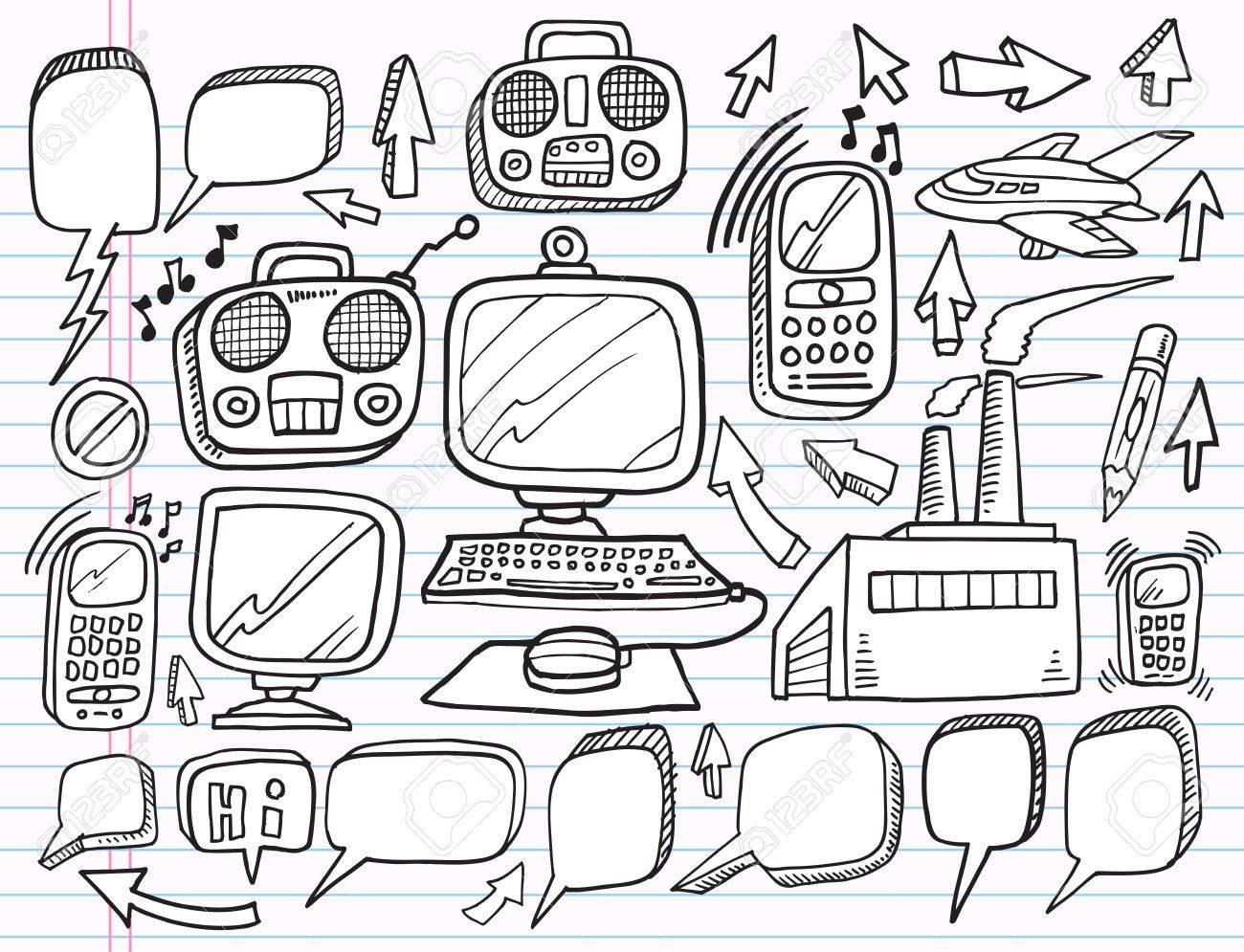 1300x995 Notebook Doodle Electronics Work Business Design Elements Vector