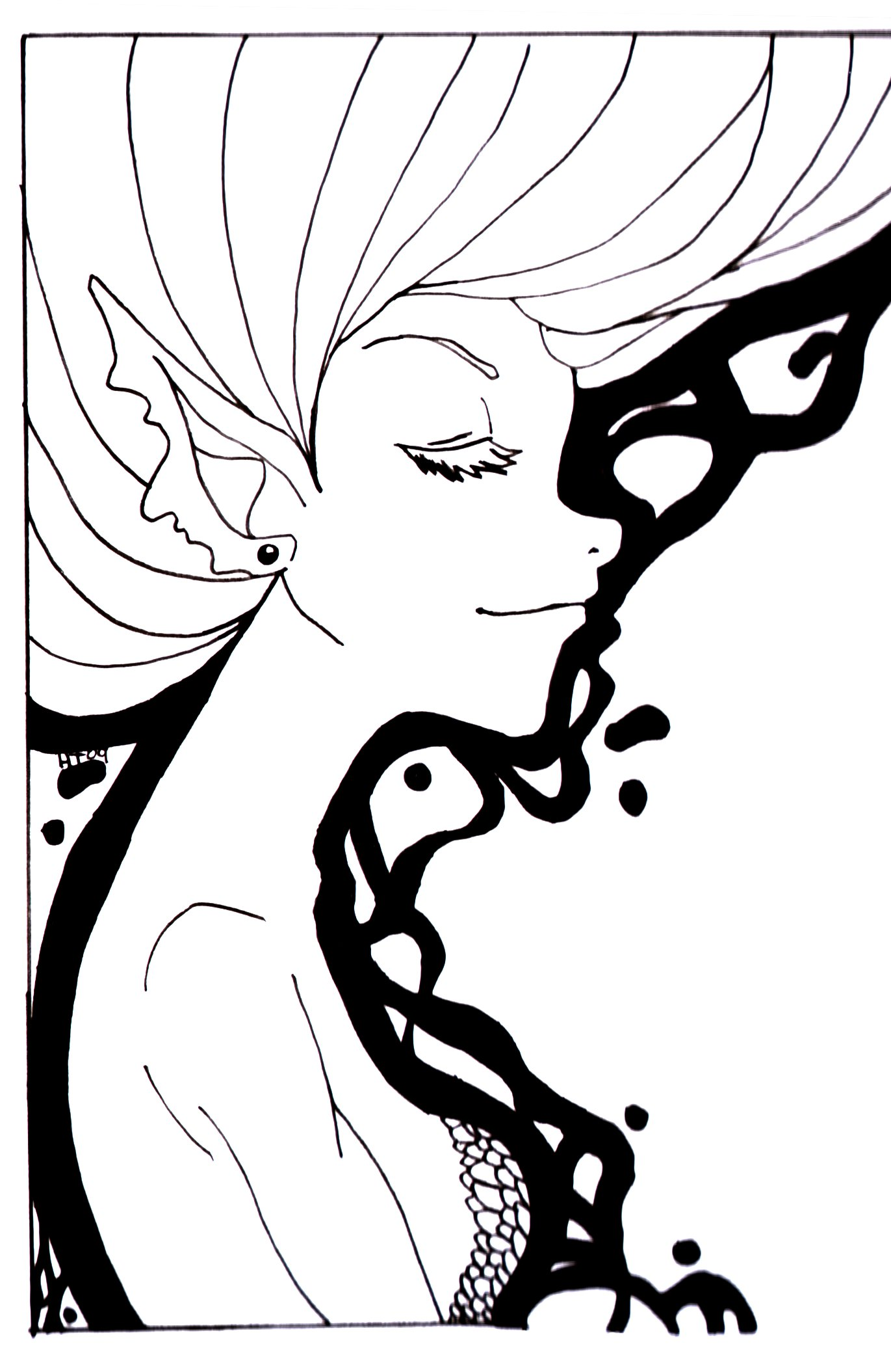1371x2109 Fairy Element Water Lineart By Coralinecaroline