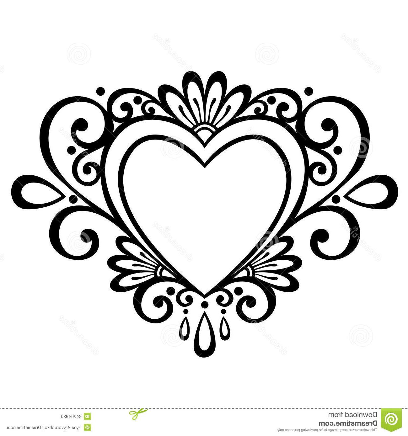 1300x1390 Hd Deco Heart Vector Abstract Design Element Drawing