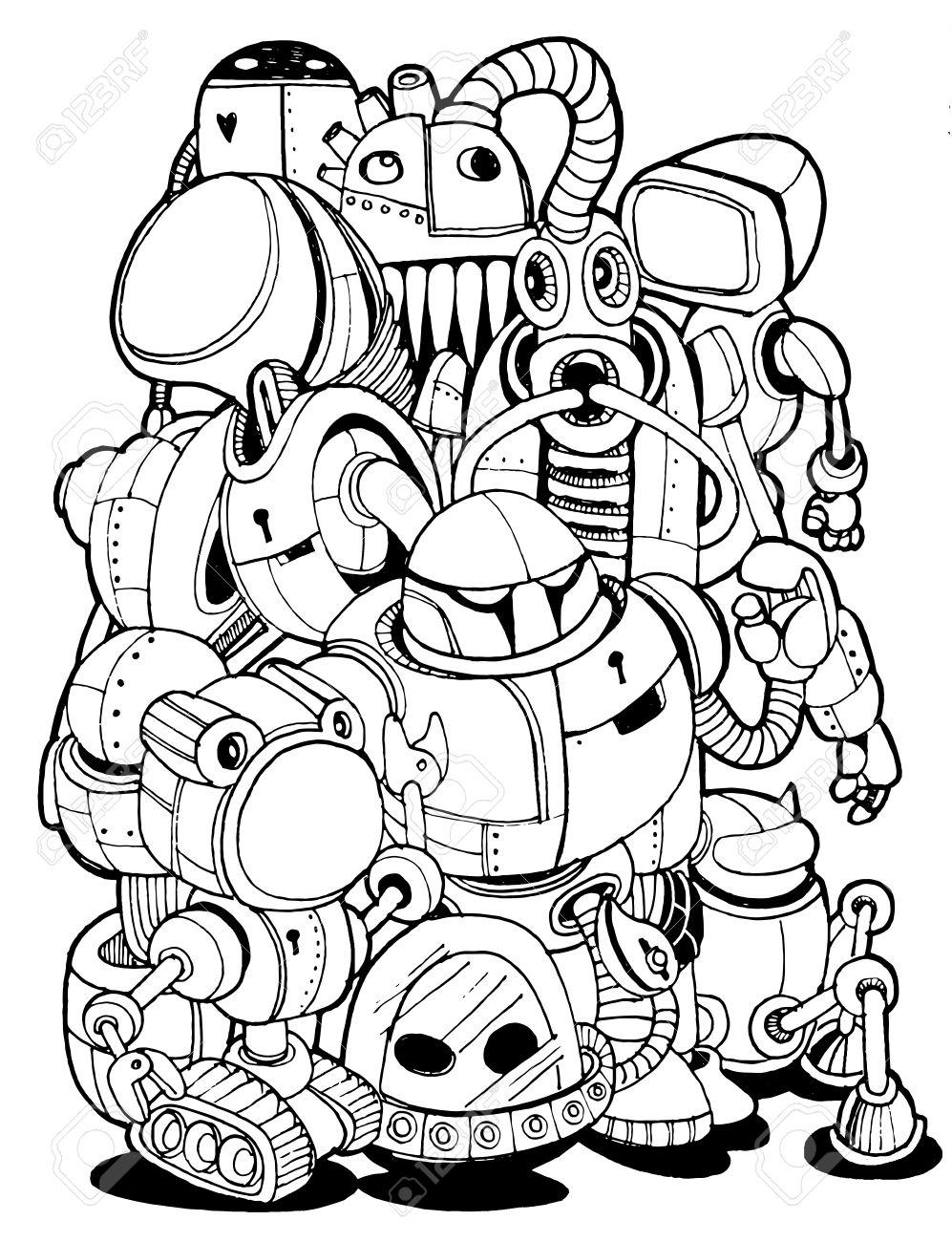 997x1300 Hand Drawn Vector Illustration Of Doodle Robot Element