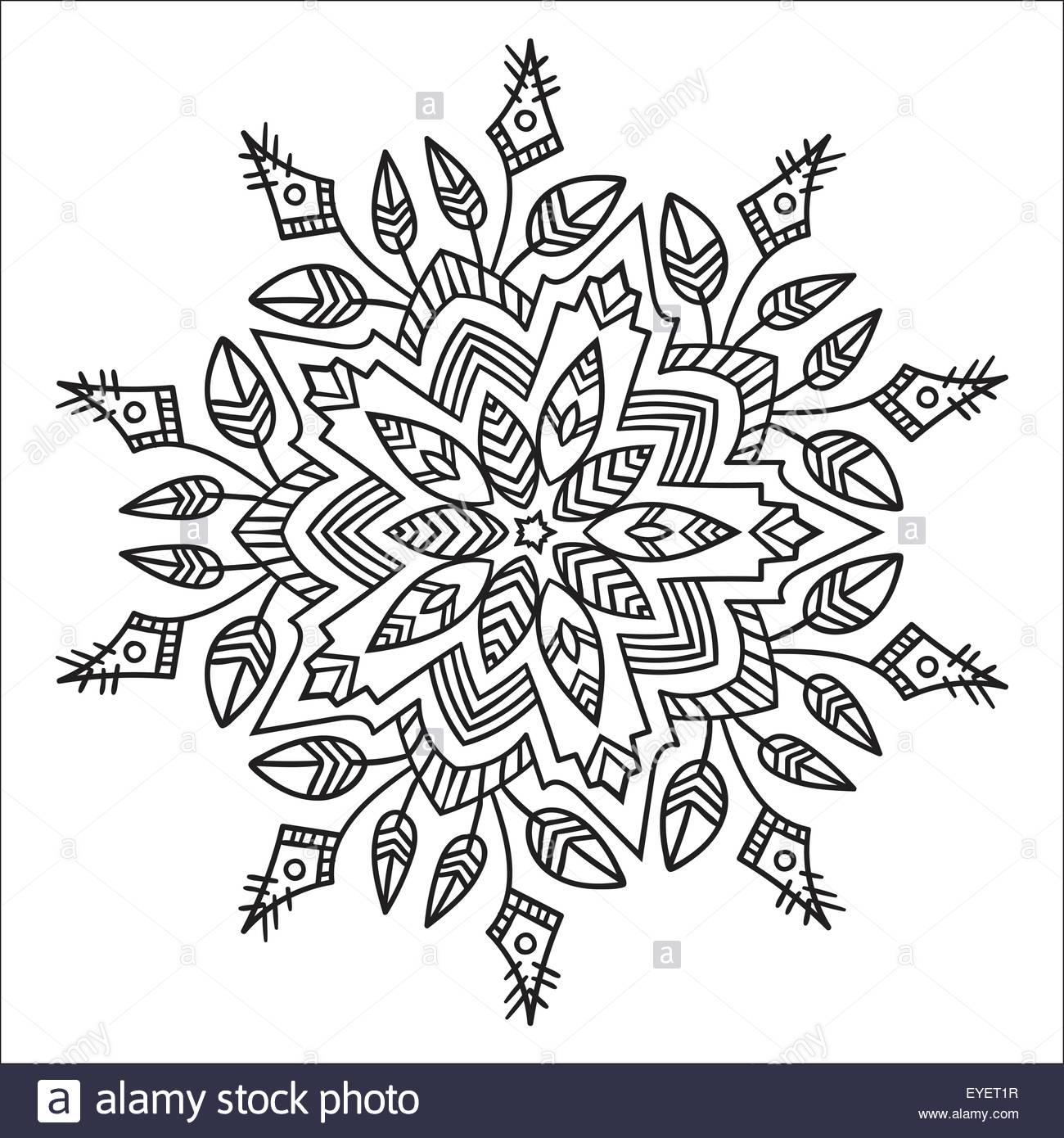 1300x1390 Hand Drawing Zentangle Element. Black And White. Flower Mandala