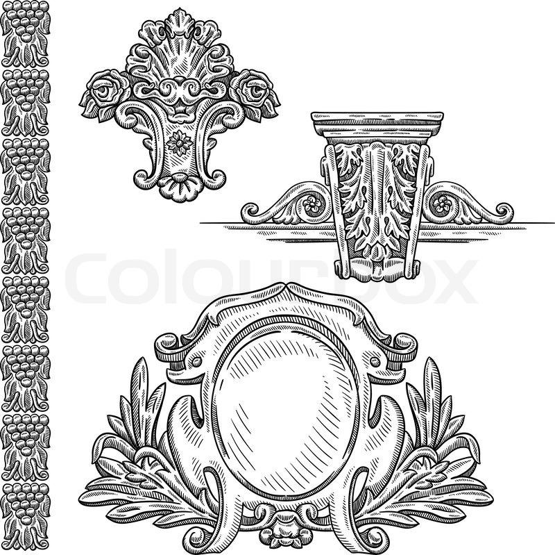 800x799 Retro Engraving Portrait Of Man. Heraldic Element. Isolated Object