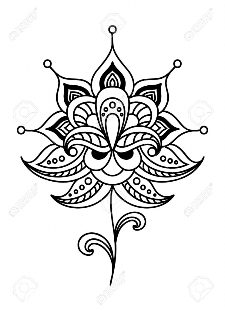 742x1024 Small Flower Drawings Calligraphic Black And White Vintage Floral