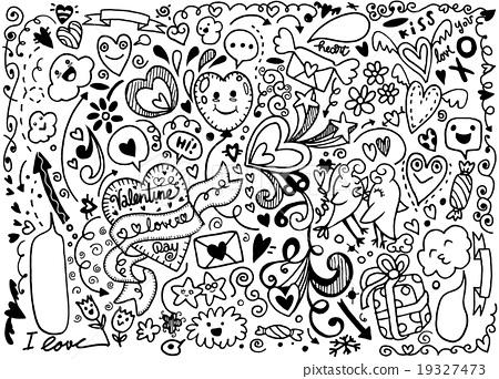450x342 Valentine Doodle Set ,hand Draw Love Element