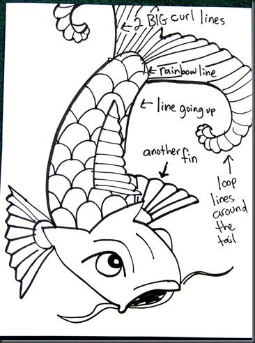 366x492 How To Draw Koi (Carp) Elementary Art Lesson. The Koi Are Outlined