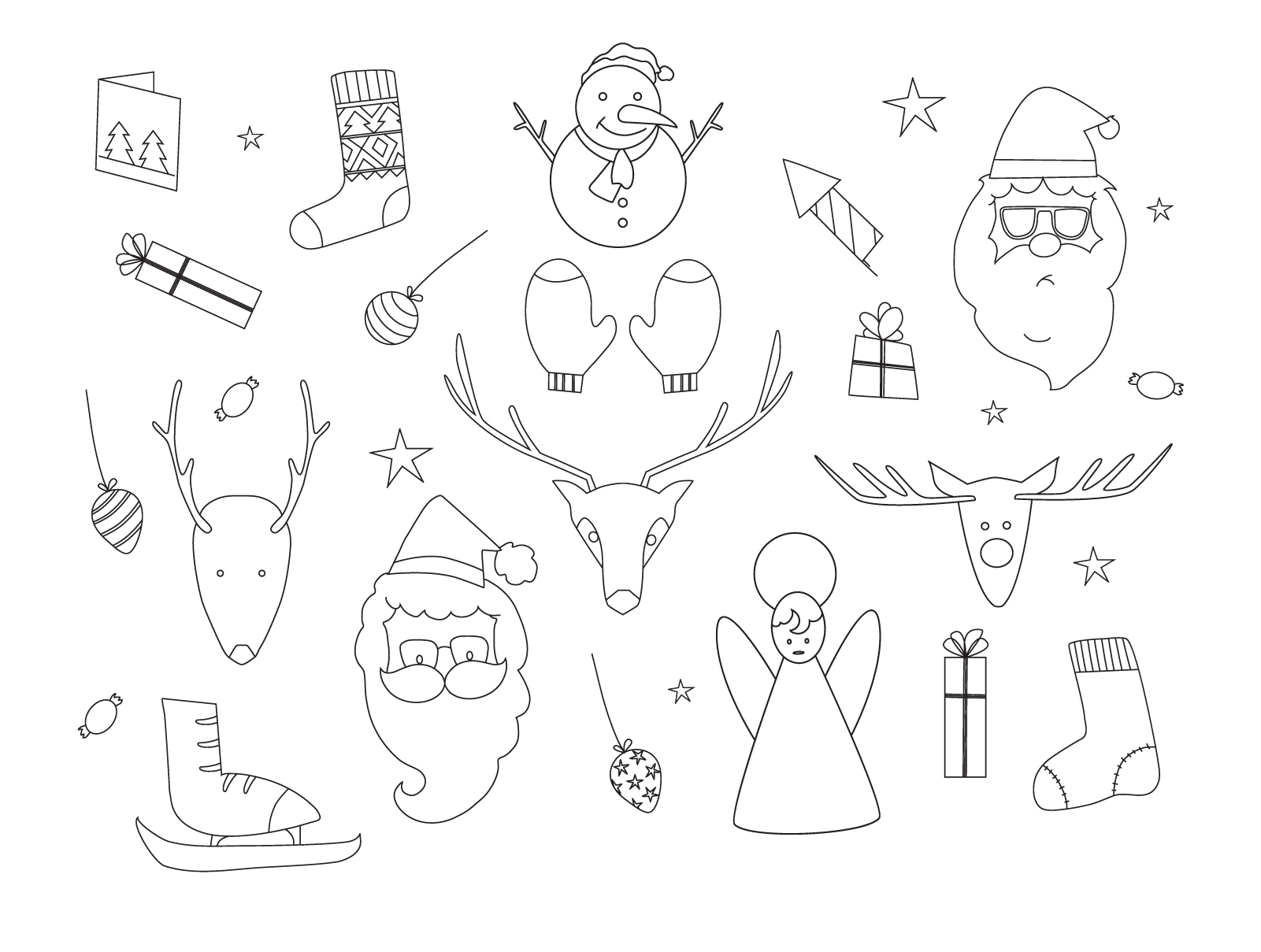 1601x1209 Hand Drawn Christmas Elements Outline Set