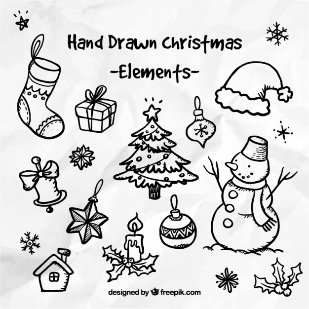 626x626 Hand Drawn Christmas Elements Vector Free Download