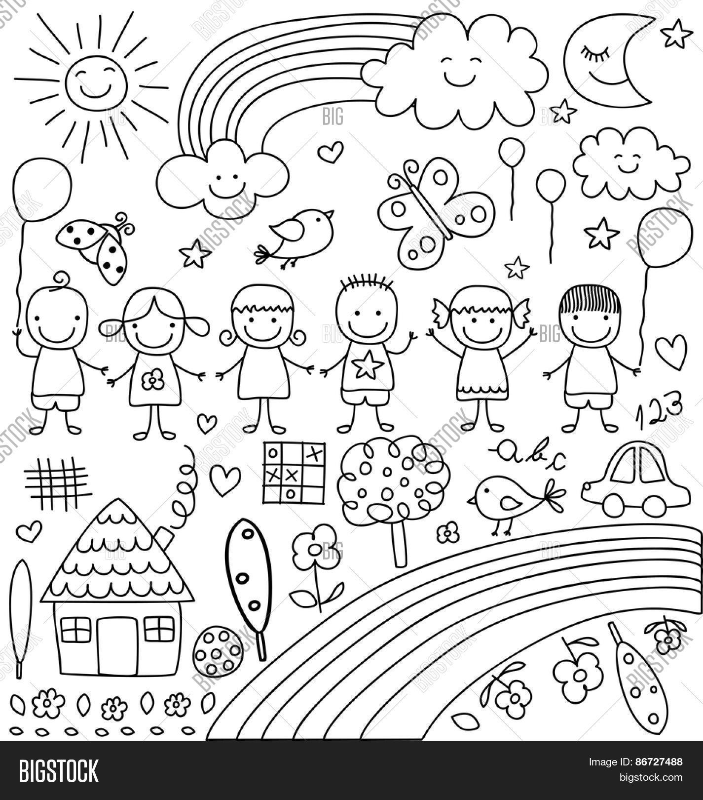 1425x1620 Kids, Clouds, Sun, Rainbow , Vector Amp Photo Bigstock