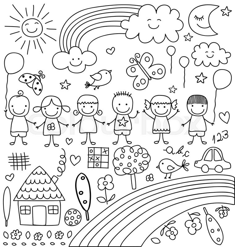760x800 Kids, Clouds, Sun, Rainbow , Child Like Drawings Elements Set