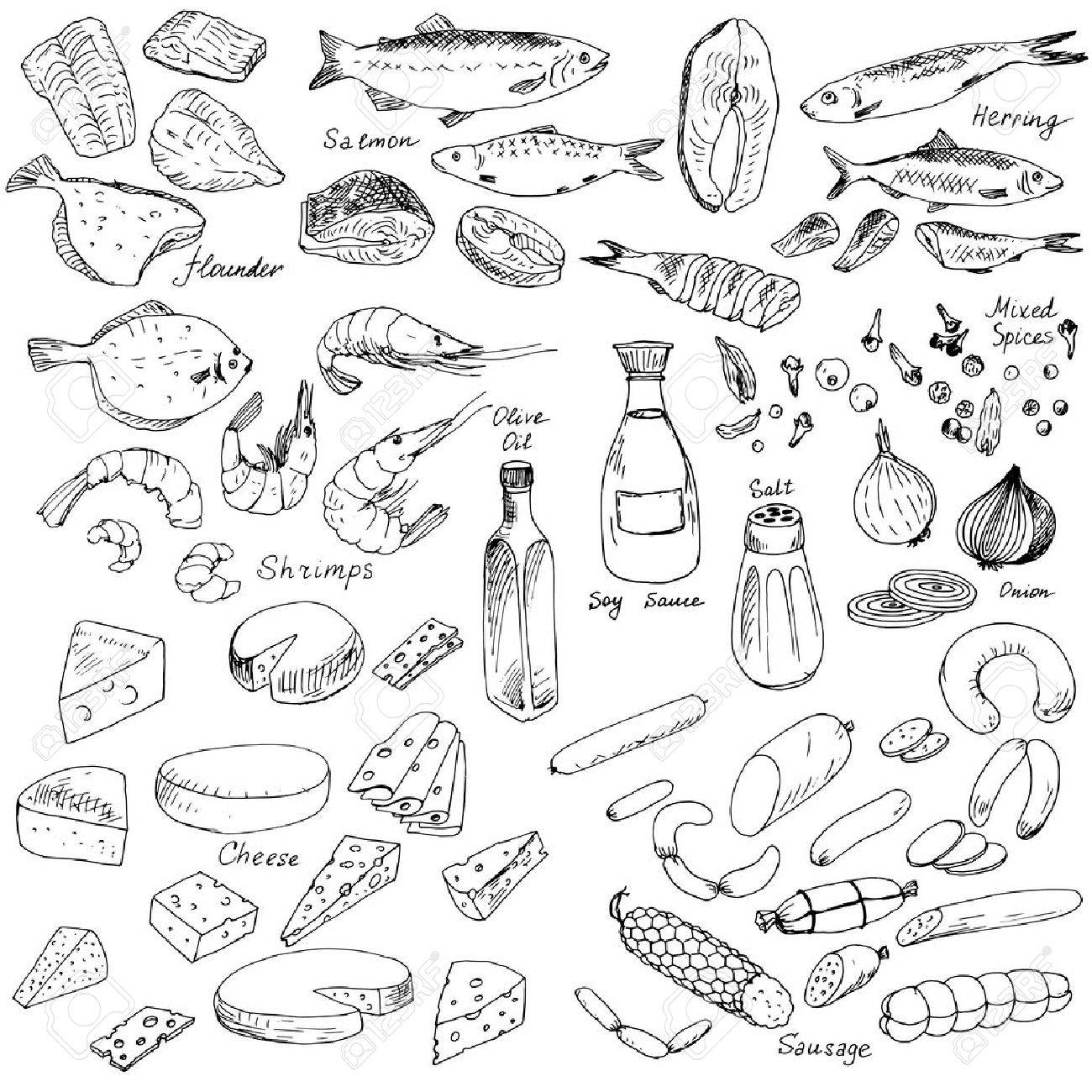 1300x1300 Meat,fish And Cheese,vector Food Set, Ink Drawing Vector Elements