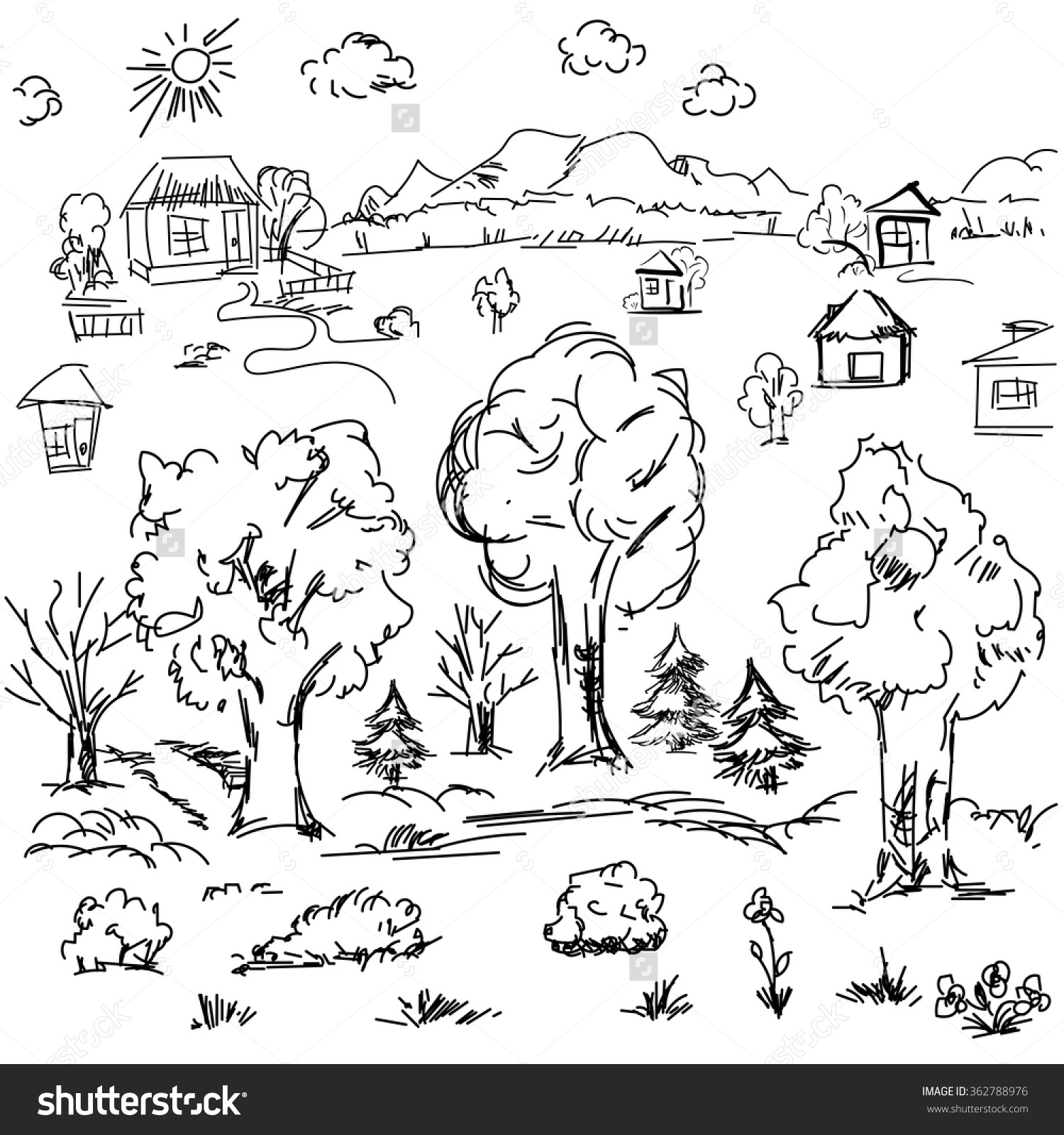 1500x1600 Outline Drawing Of Nature Elements Landscape Outline Doodle Sketch