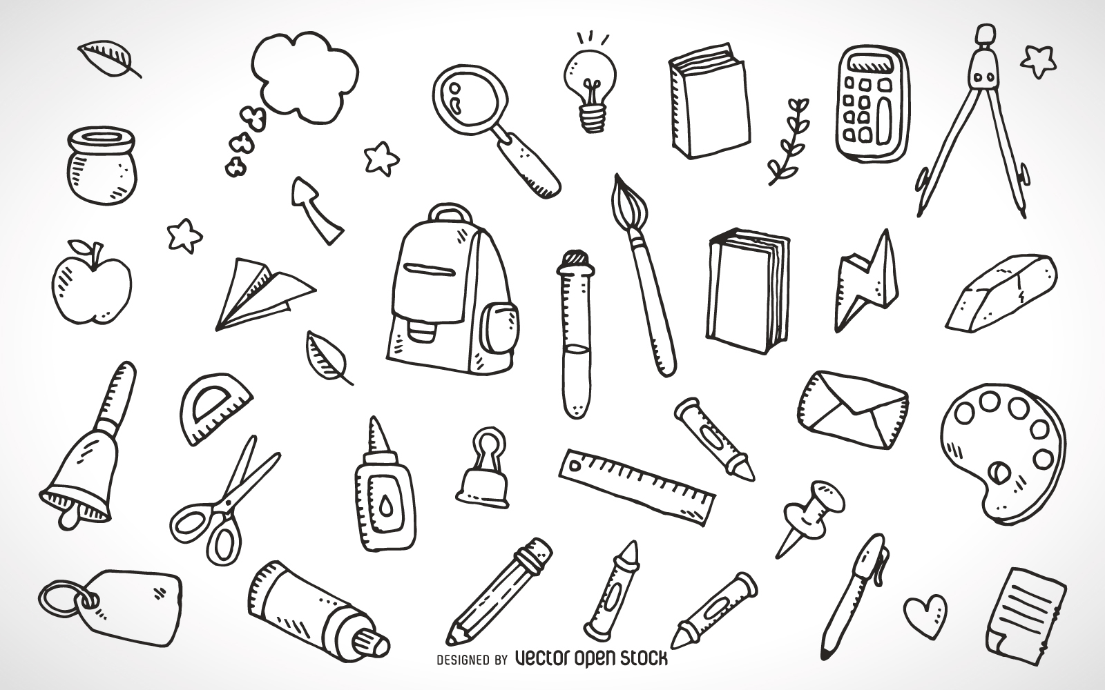1600x1000 School Supplies Elements Outline