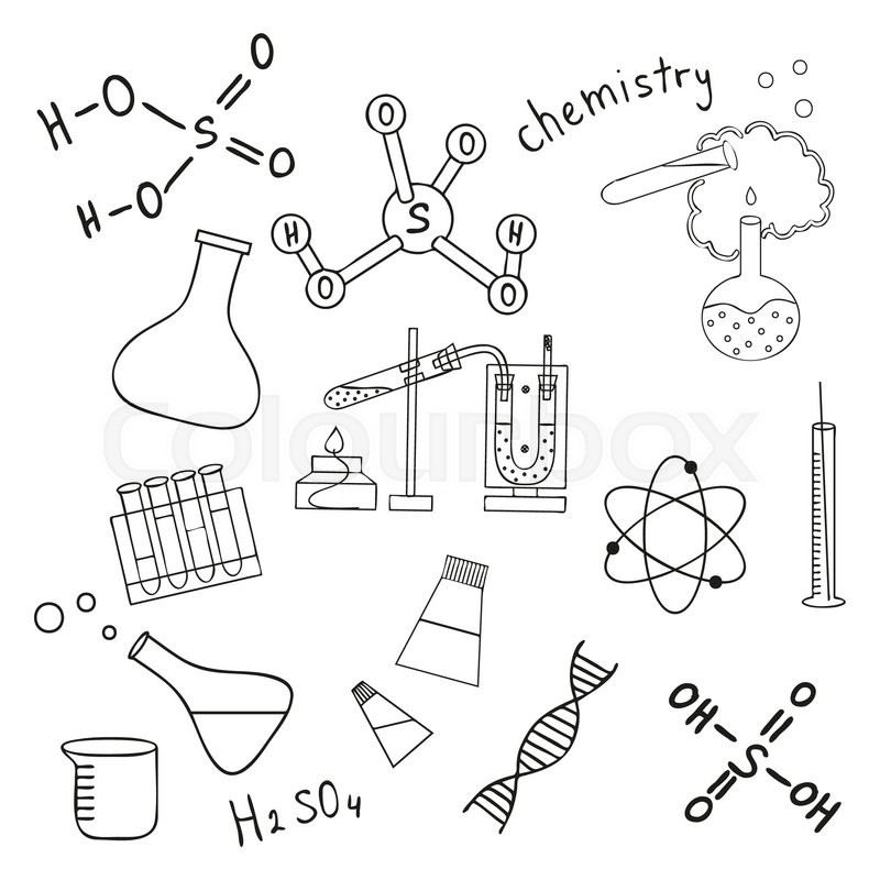 800x800 Sketch Of Science Doddle Elements. Vector Illustration. Stock