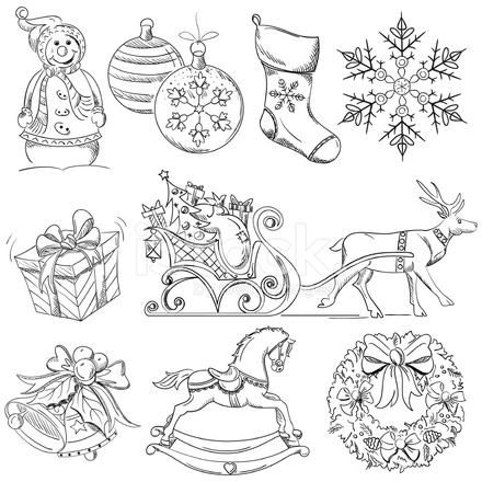 440x440 Christmas Design Elements Drawings Stock Vector