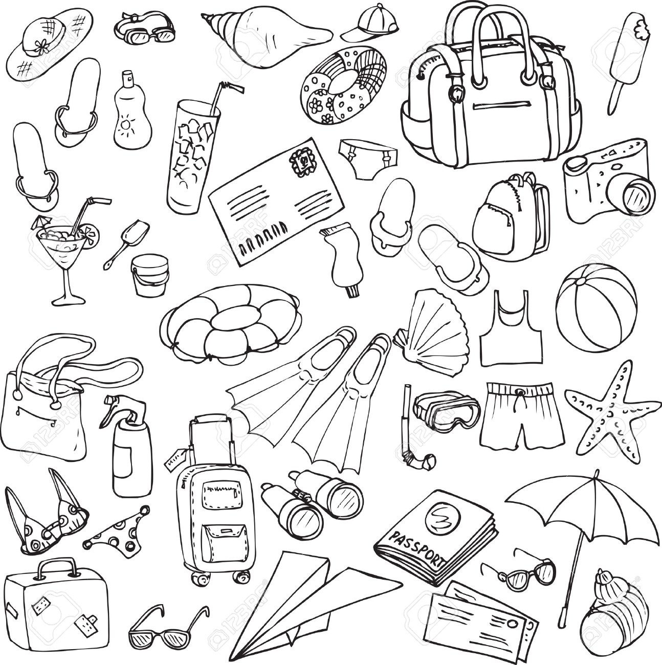 1294x1300 Vector Sea And Travel Set Of Sketch, Hand Drawn Infographic
