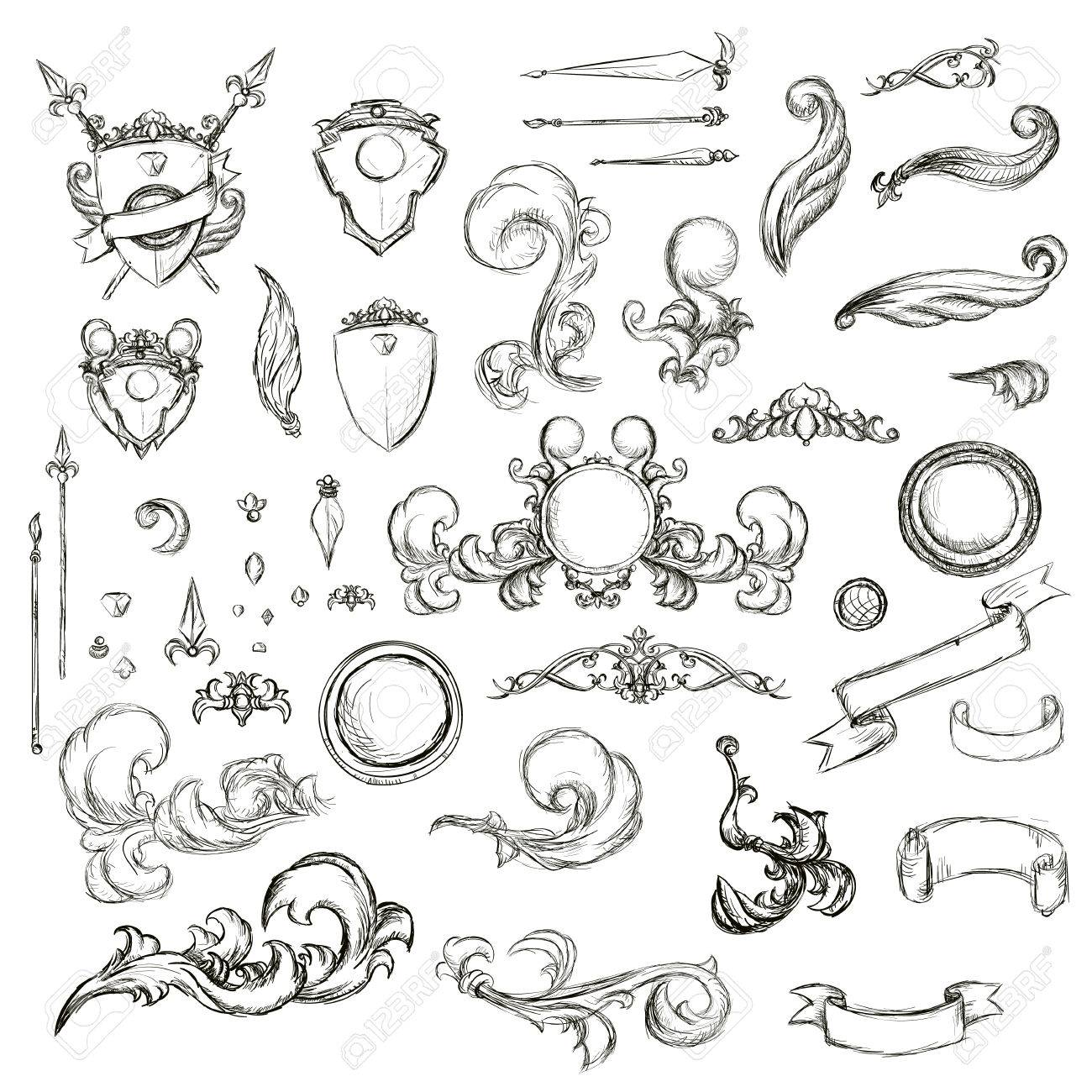 1300x1300 Vintage Set Decor Elements For Menu. Elegance Old Hand Drawing