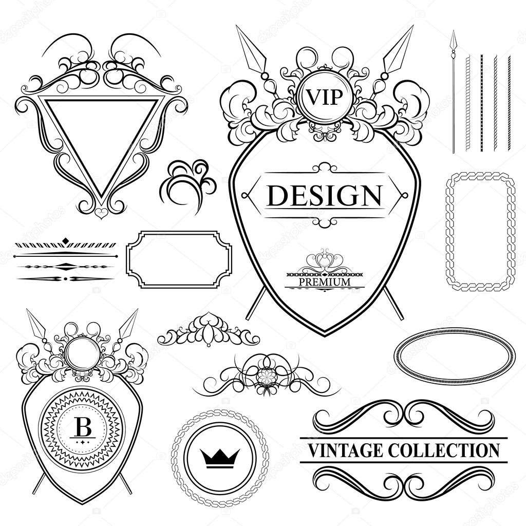 1024x1024 Vintage Set Decor Elements For Menu. Elegance Old Hand Drawing S