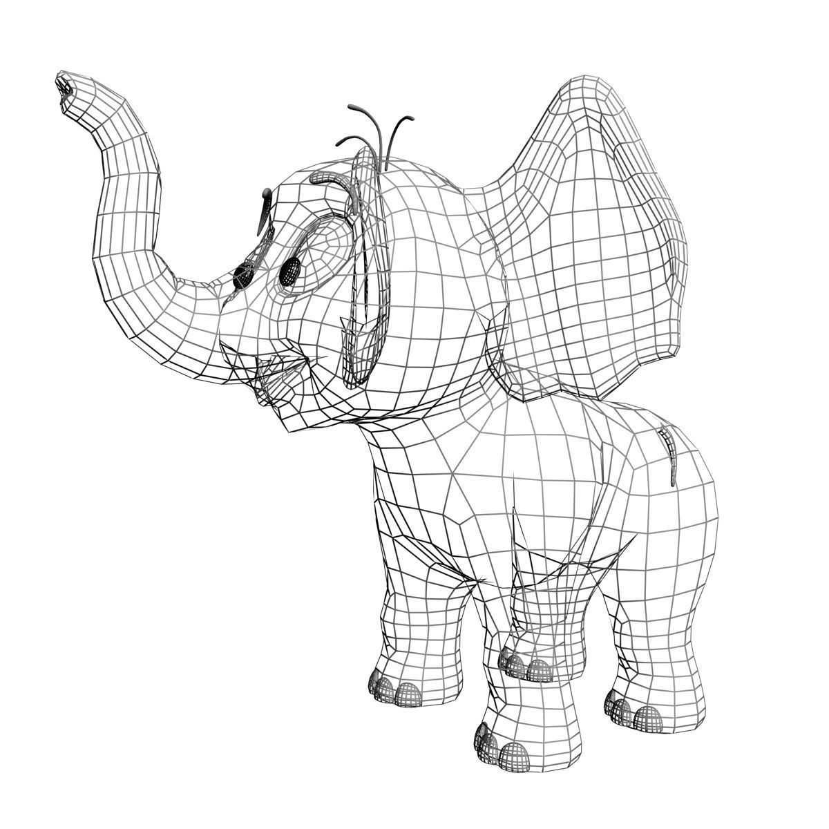 1200x1200 Cartoon Baby Elephant Rigged 3d Model Cgtrader