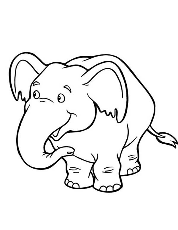 600x775 Cute Baby Elephant Coloring Page