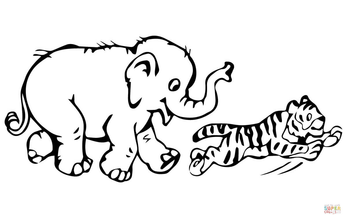 1200x763 Tiger Cub Plays With Baby Elephant Coloring Page Free Printable