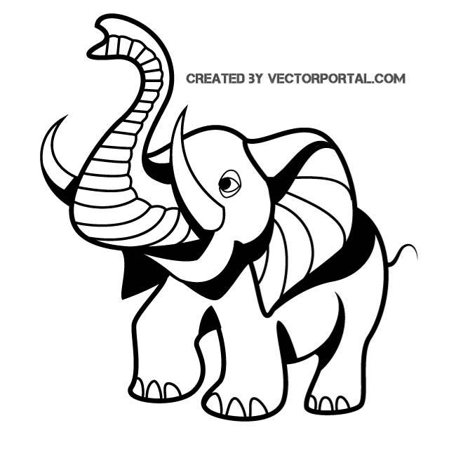 660x660 Vector Drawing Of A Baby Elephant By Vectorportal
