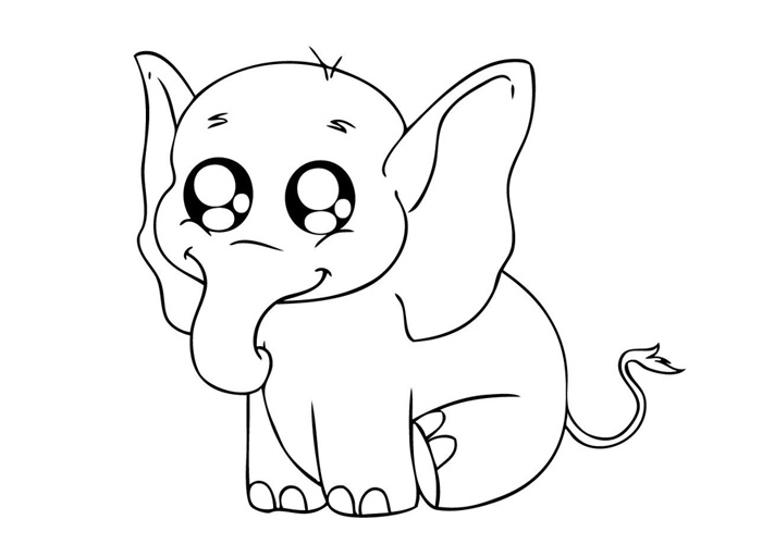 700x500 Color Pages Of Cute Easy Animal Baby Elephant Coloring Pages