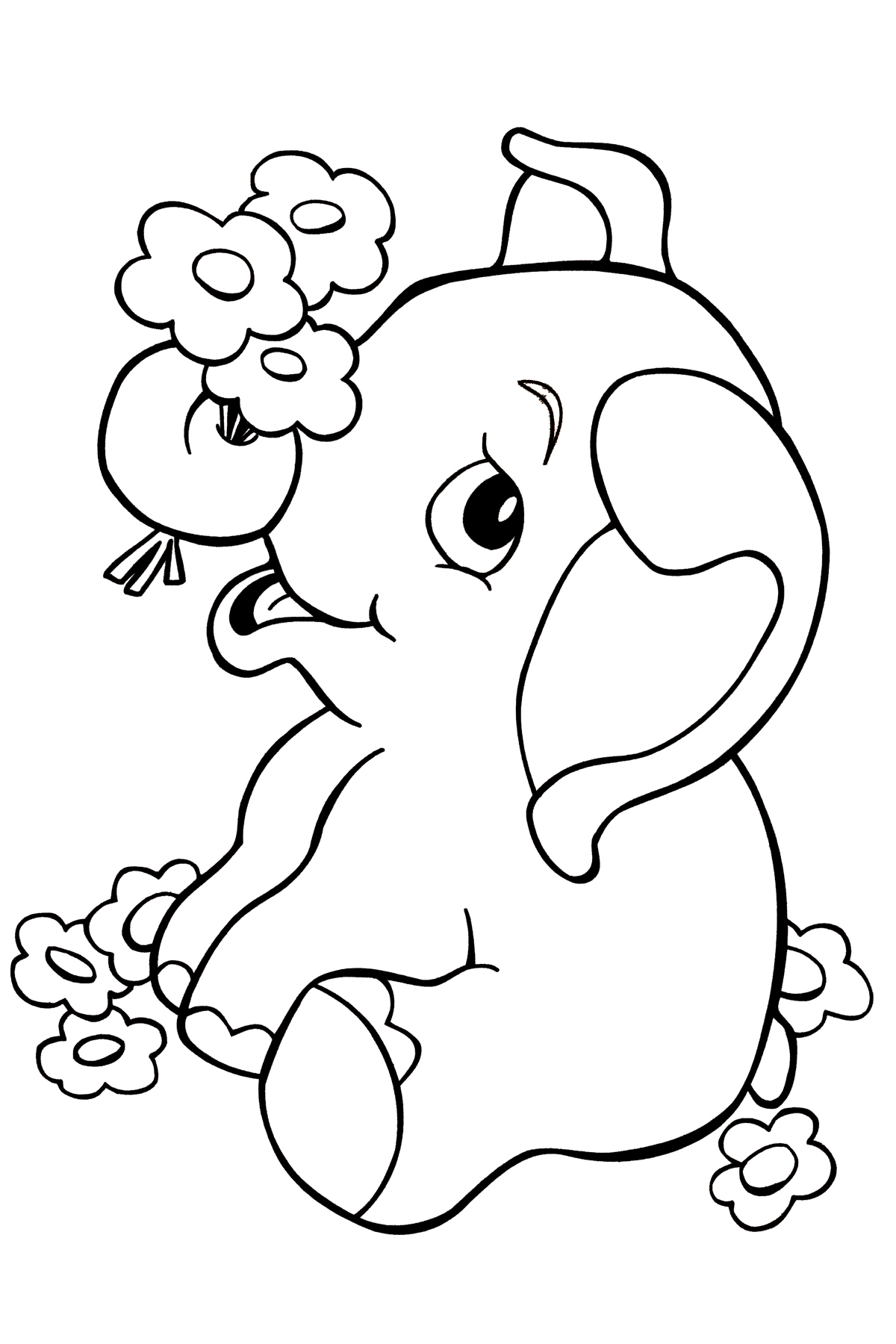 1200x1800 Baby Elephant Coloring Pages Print Printable For Humorous Draw