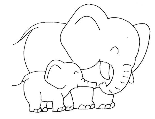 600x461 Baby Elephant Love Her Mother Coloring Page