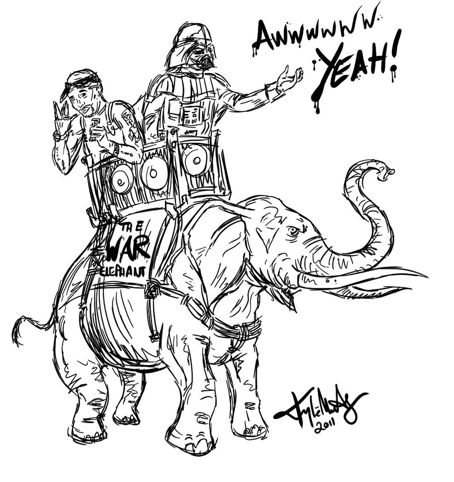900x956 Darth Vader And Tupac Riding An Elephant By Sommadat