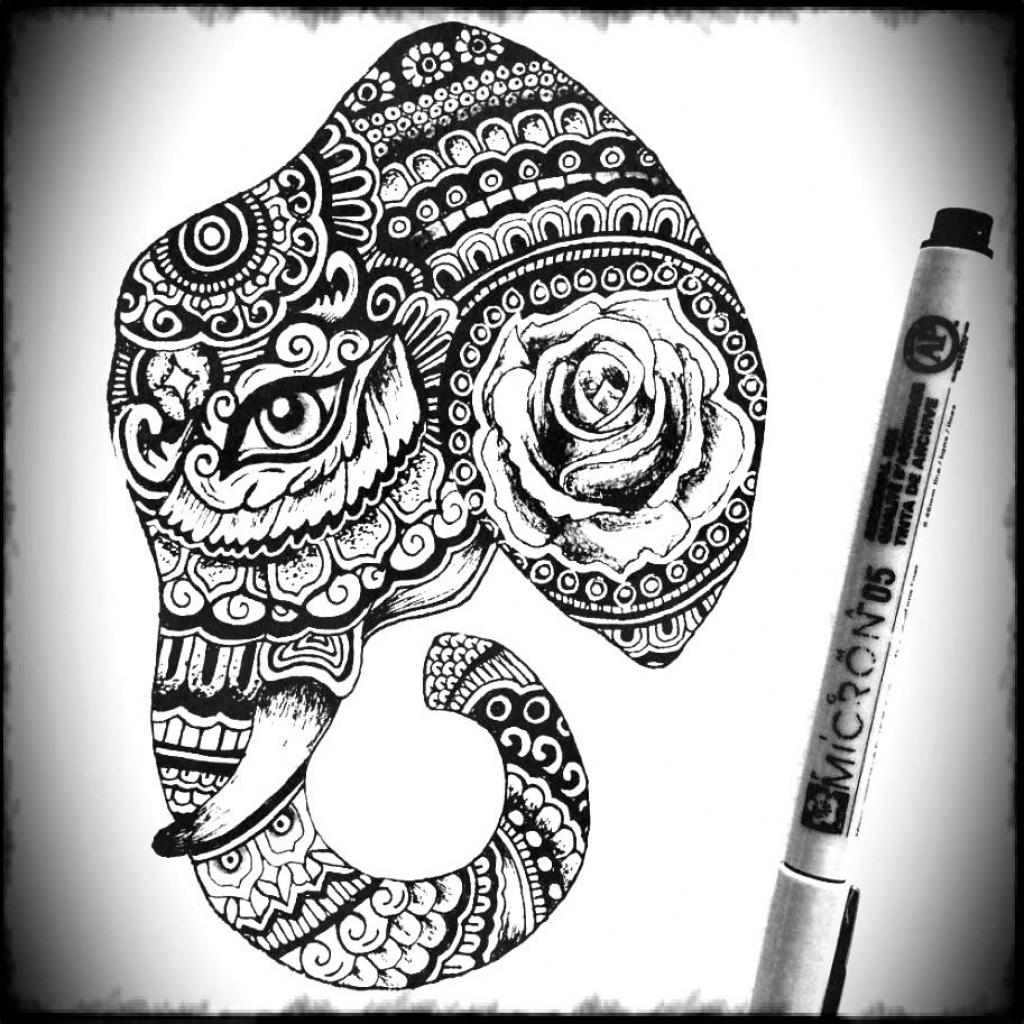1024x1024 Elephant Drawing Tumblr Elephant Art Print Stretching, Indian