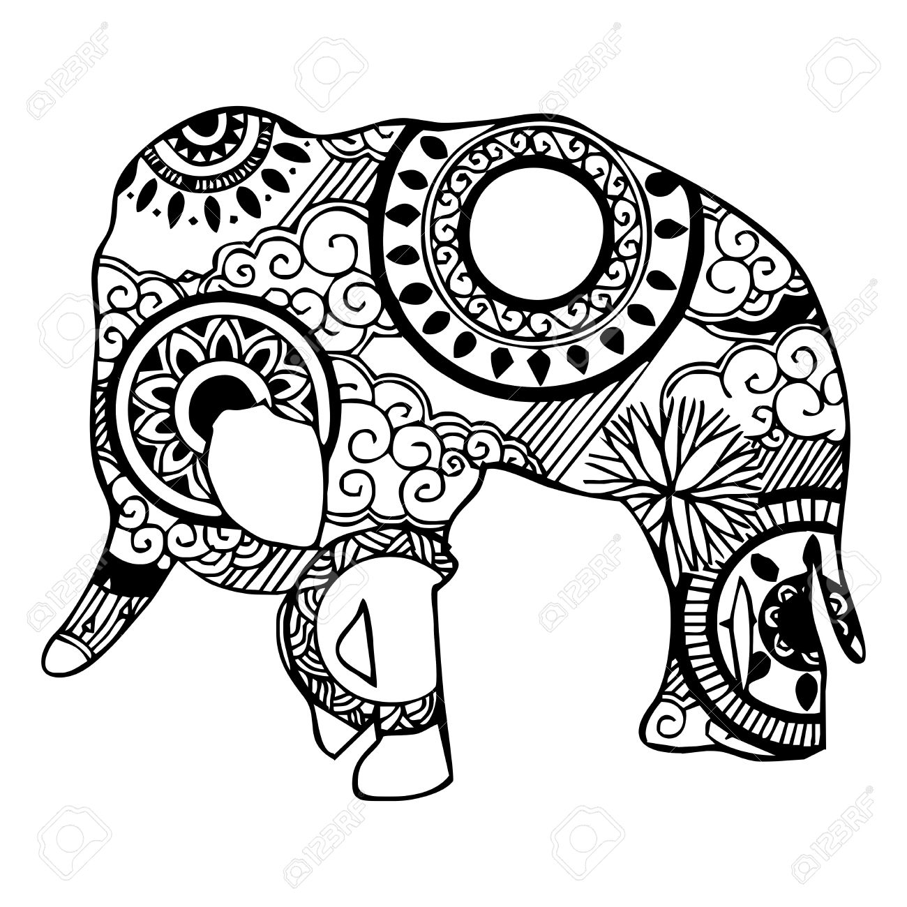 1300x1300 Elephant With Cloud And Rain Ornament Tattoo Royalty Free Cliparts