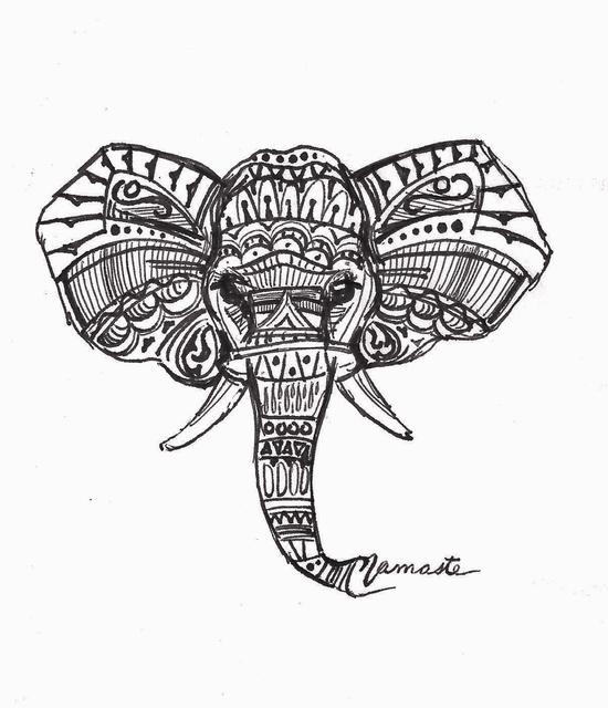 550x640 Maria Changalidi Artwork Namaste Elephant Original Drawing Pen