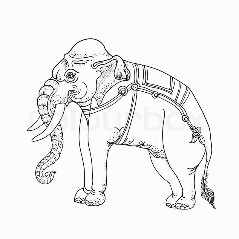 800x800 Traditional Thai Art,drawing Of White Elephant On Still Pose