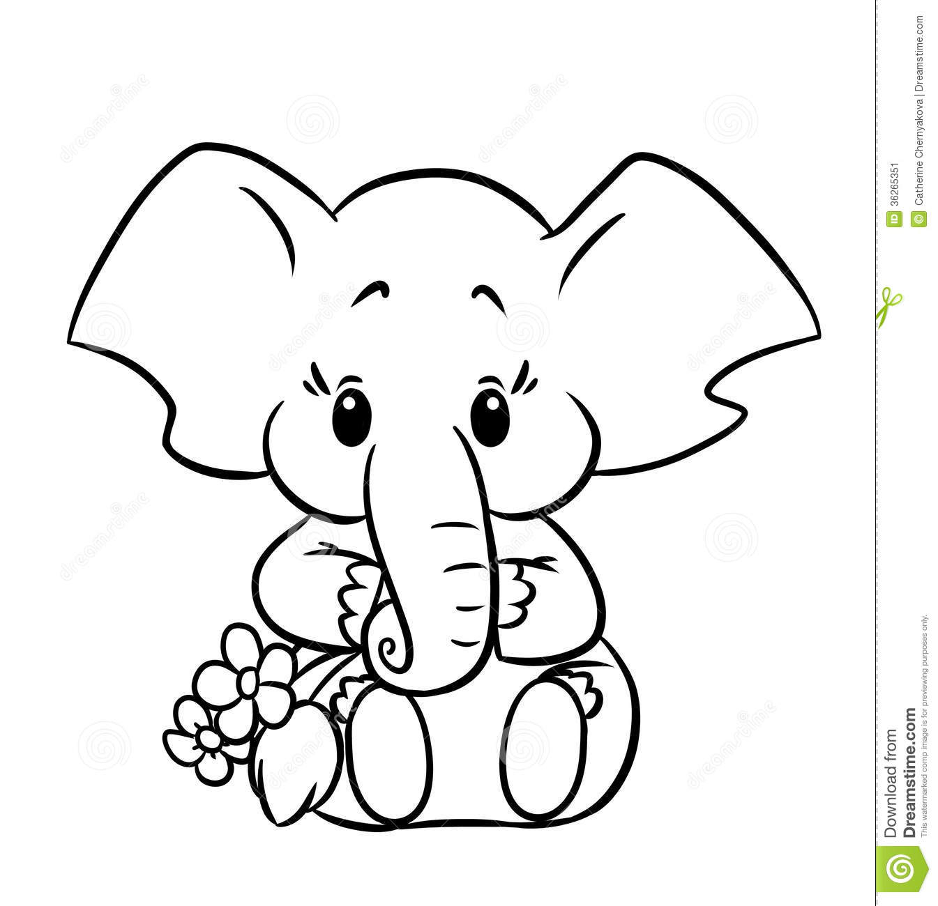 1345x1300 Cute Baby Elephant Drawing Little Baby Elephant Colouring Page