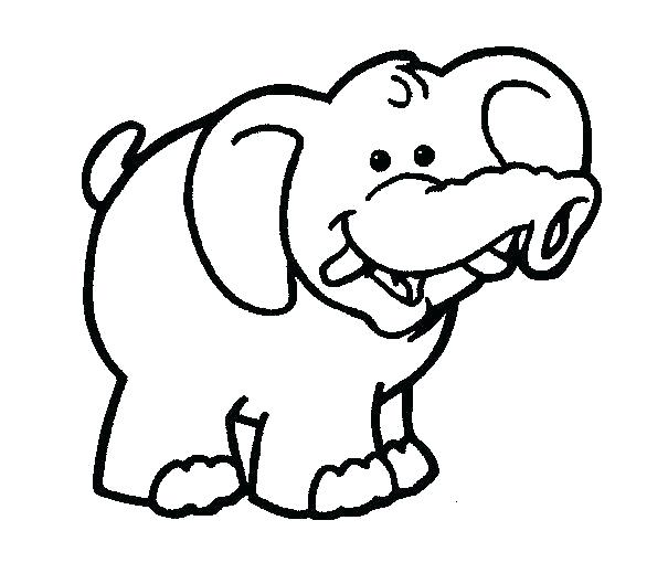 605x529 Elephant Coloring Pages Printable Baby For Adults