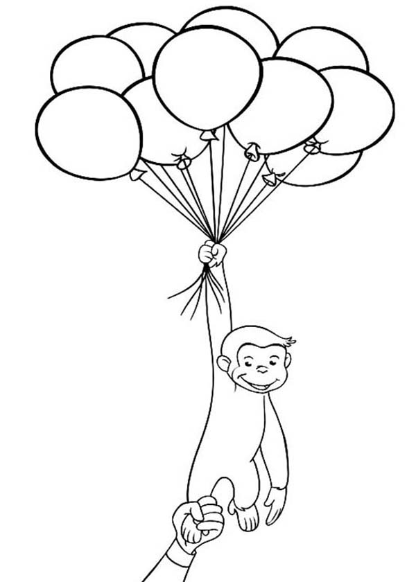 600x840 Curious George Holding A Lot Of Balloons Coloring Page