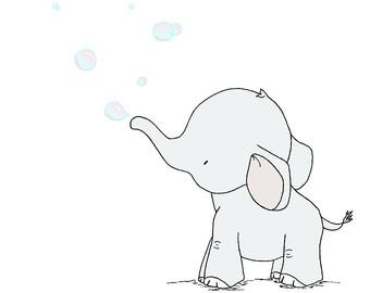 340x270 Elephant Nursery Art Print