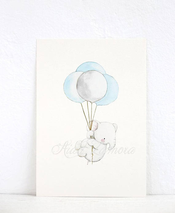 570x691 Nursery Art Elephant With Balloons Kid'S