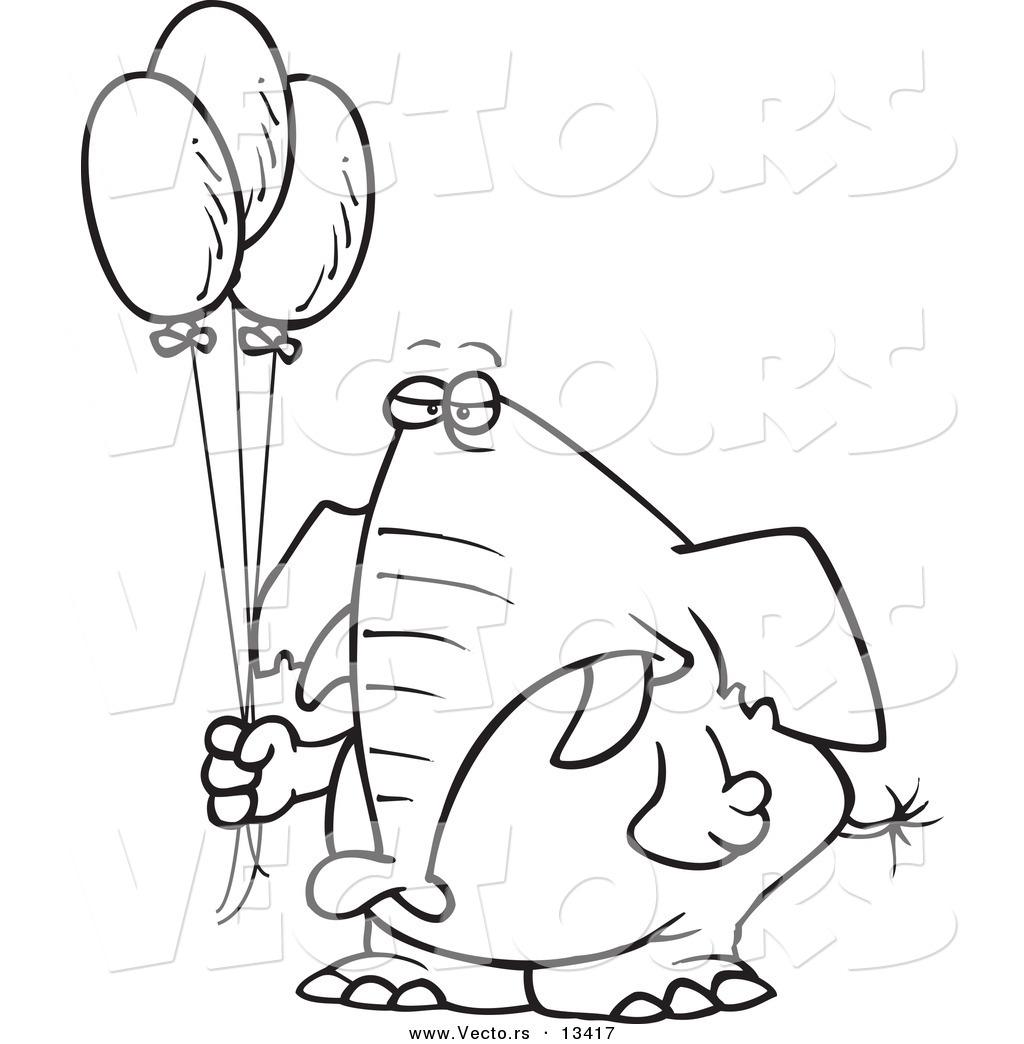 1024x1044 Vector Of A Cartoon Grumpy Elephant Holding Balloons