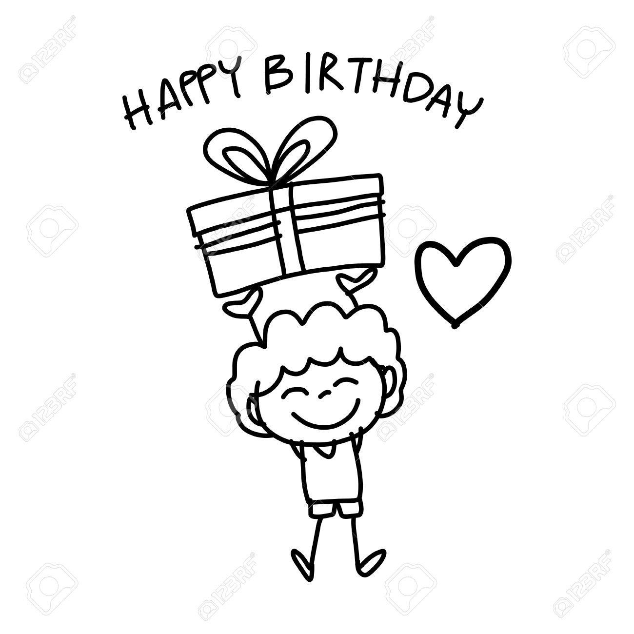 1300x1300 Birthday Cartoon Drawings Vector Of A Cartoon Happy Birthday