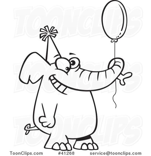 581x600 Cartoon Outlined Happy Birthday Elephant Holding A Balloon