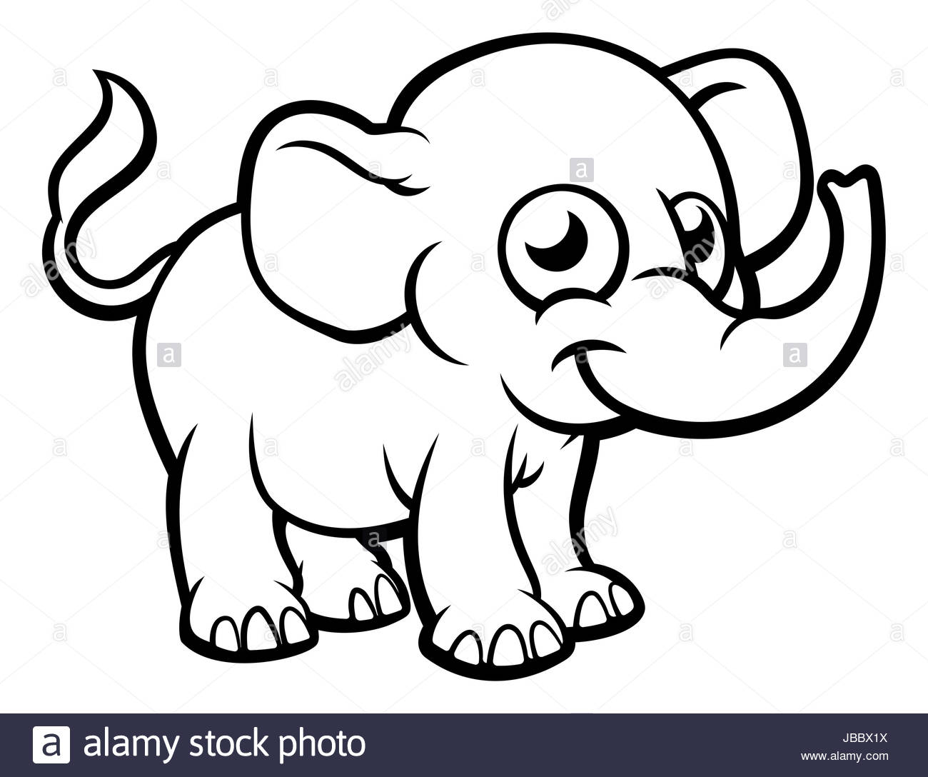 1300x1088 An Elephant Cartoon Character Outline Coloring Illustration Stock