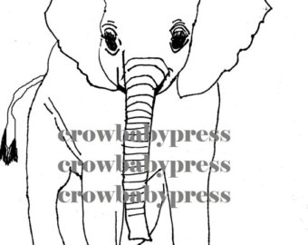 340x270 Elephant Drawing Etsy