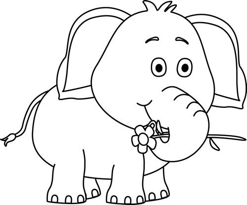 500x416 Baby Elephant Clipart Black And White Letters Format